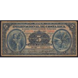 Costa Rica - Pick 174b - 5 colones - 02/01/1930 - Etat : B-