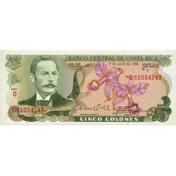 Costa Rica - Pick 236d - 5 colones - 07/04/1983 - Etat : NEUF