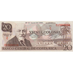 Costa Rica - Pick 238c - 20 colones - 28/08/1980 - Etat : SPL+