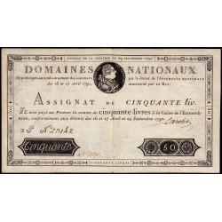 Assignat 04a-v1 (variété) - 50 livres - 29 sept. 1790 - Etat : TTB+