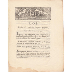 Assignat - Décret du 23 janvier 1791