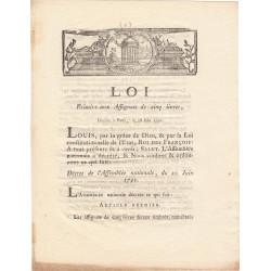 Assignat - Décret du 20 juin 1791