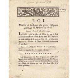 Assignat - Décret du 18 juillet 1791