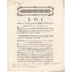 Assignat - Décret du 19 novembre 1791