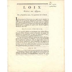 Assignat - Décret du 13 septembre 1792
