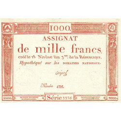 Assignat 50a - 1000 francs - 18 nivôse an 3 - Etat : SUP+