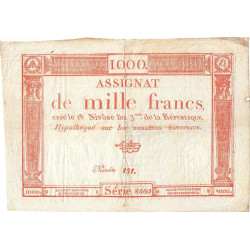 Assignat 50a - 1000 francs - 18 nivôse an 3 - Etat : TTB+