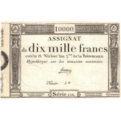 Assignat 52a - 10000 francs - 18 nivôse an 3 - Etat : SUP