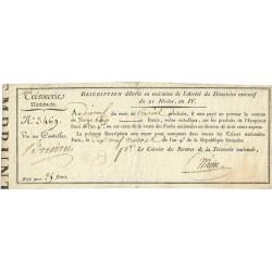 Rescription 53a - 25 francs - 21 nivôse an 4 - Etat : TTB