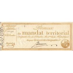 Promesse de mandat 61a - 250 francs - 28 ventôse an 4 - Etat : SUP+