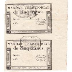 Paire mandat territorial 63b - 5 francs - 28 ventôse an 4 - Etat : SUP+
