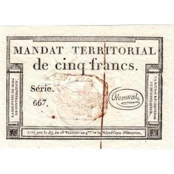 Mandat territorial 63c - 5 francs - 28 ventôse an 4 - Etat : SPL+