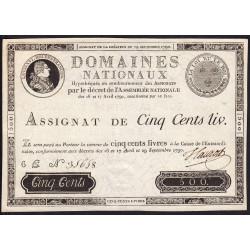 Assignat 10f-02 - Faux 500 livres - 29 septembre 1790 - Série 6E - Etat : NEUF