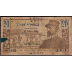 La Réunion - Pick 43 - 20 francs France Outre-Mer - 1947 - Etat : B