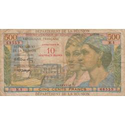 La Réunion - Pick 54b - 10 nouveaux francs sur 500 francs - 1971 - Etat : TB-