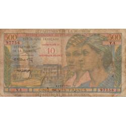 La Réunion - Pick 54b - 10 nouveaux francs sur 500 francs - 1971 - Etat : B