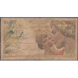 La Réunion - Pick 55a - 20 nouveaux francs sur 1000 francs - 1967 - Etat : B