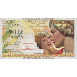 La Réunion - Pick 55b - 20 nouveaux francs sur 1000 francs - 1971 - Etat : TTB
