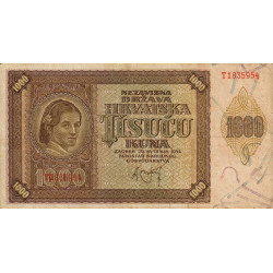 Croatie - Pick 4 - 1'000 kuna - 21/05/1941 - Etat : TB+