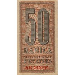 Croatie - Pick 6b - 50 banica - 25/09/1942 - Etat : SUP
