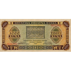Croatie - Pick 12 - 1'000 kuna - 01/09/1943 - Etat : SUP