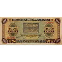 Croatie - Pick 12 - 1'000 kuna - 01/09/1943 - Etat : SPL