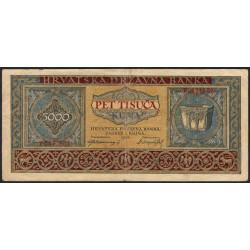 Croatie - Pick 13 - 5'000 kuna - 1943 - Etat : TB+