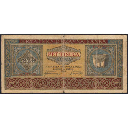 Croatie - Pick 13 - 5'000 kuna - 01/09/1943 - Etat : TB-