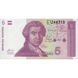 Croatie - Pick 17 - 5 dinars - 08/10/1991 - Etat : NEUF