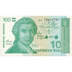 Croatie - Pick 20 - 100 dinars - 08/10/1991 - Etat : NEUF