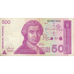 Croatie - Pick 21 - 500 dinars - 08/10/1991 - Etat : TB