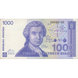Croatie - Pick 22 - 1'000 dinars - 08/10/1991 - Etat : TTB