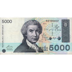 Croatie - Pick 24 - 5'000 dinars - 15/01/1992 - Etat : TTB