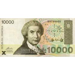 Croatie - Pick 25 - 10'000 dinars - 15/01/1992 - Etat : TTB