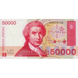 Croatie - Pick 26 - 50'000 dinars - 30/05/1993 - Etat : NEUF
