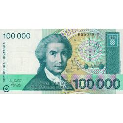 Croatie - Pick 27 - 100'000 dinars - 30/05/1993 - Etat : NEUF