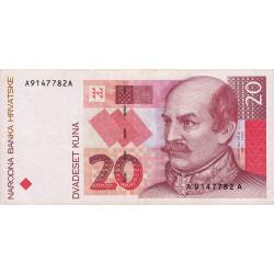 Croatie - Pick 30 - 20 kuna - 1993 - Etat : TTB