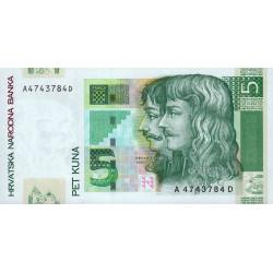 Croatie - Pick 37 - 5 kuna - 07/03/2001 - Etat : NEUF