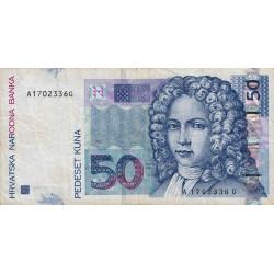 Croatie - Pick 40 - 50 kuna - 07/09/2002 - Etat : TTB