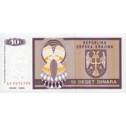 Croatie - Krajina - Pick R1 - 10 dinars - 1992 - Etat : NEUF