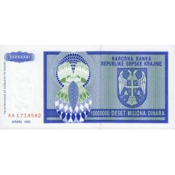Croatie - Krajina - Pick R12 - 10 millions de dinars - 1993 - Etat : NEUF