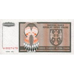Krajina - Pick R13 - 20 millions de dinars - 1993 - Etat : NEUF