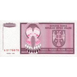 Croatie - Krajina - Pick R14 - 50 millions de dinars - 1993 - Etat : NEUF