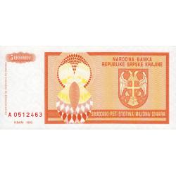 Croatie - Krajina - Pick R16 - 500 millions de dinars - 1993 - Etat : NEUF