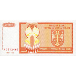 Krajina - Pick R16 - 500 millions de dinars - 1993 - Etat : NEUF