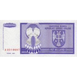 Croatie - Krajina - Pick R18 - 5 milliards de dinars - 1993 - Etat : NEUF