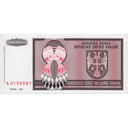 Croatie - Krajina - Pick R19 - 10 milliards de dinars - 1993 - Etat : NEUF
