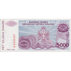 Croatie - Krajina - Pick R20 - 5'000 dinars - 1993 - Etat : NEUF