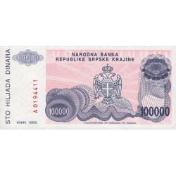Croatie - Krajina - Pick R22 - 100'000 dinars - 1993 - Etat : NEUF