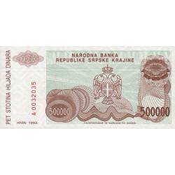 Croatie - Krajina - Pick R23 - 500'000 dinars - 1993 - Etat : NEUF